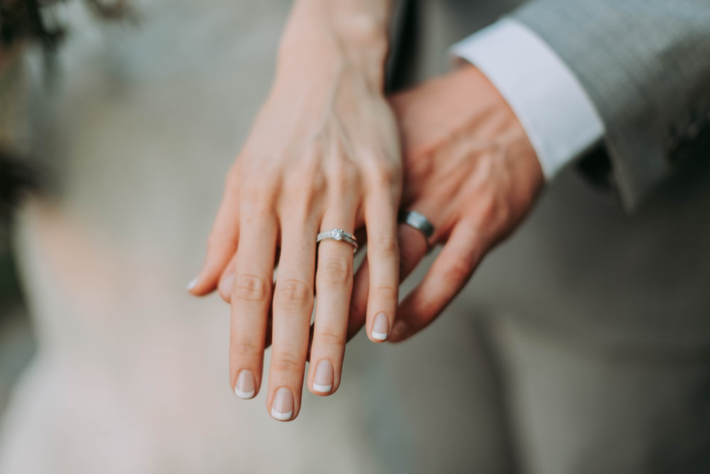 Woman and man hand wearing wedding rings
