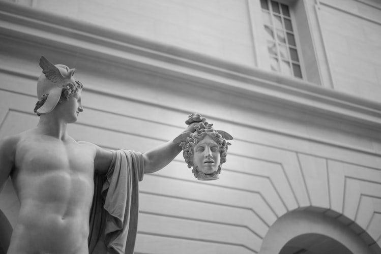 Marble statues.