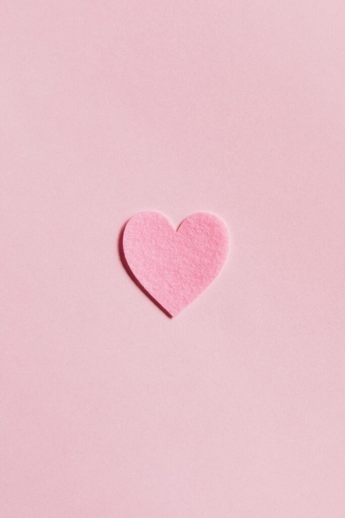 Pink heart cut out
